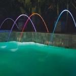 Jets d'eau lumineux multicolores